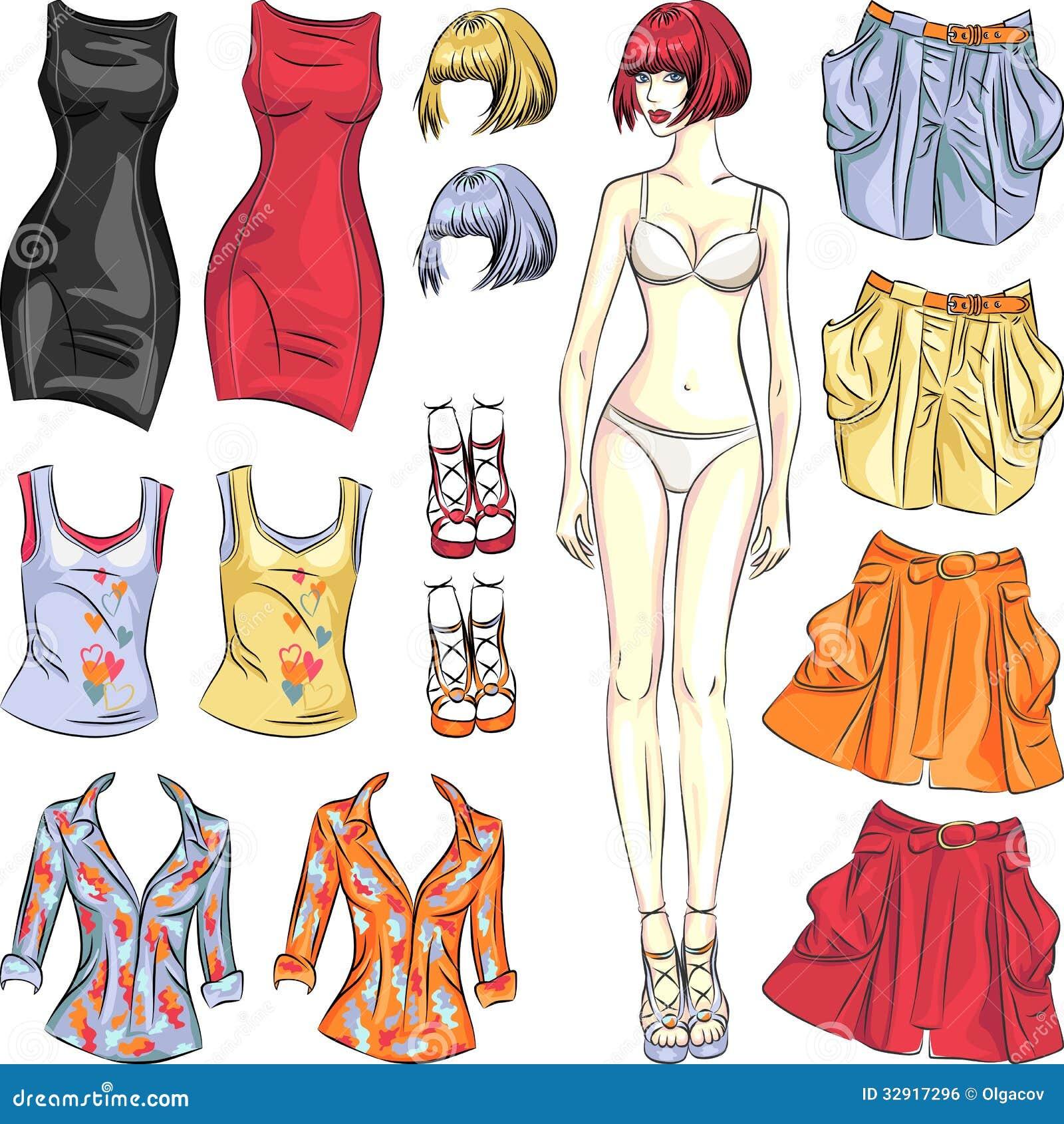 Vector leuke kleding op document pop