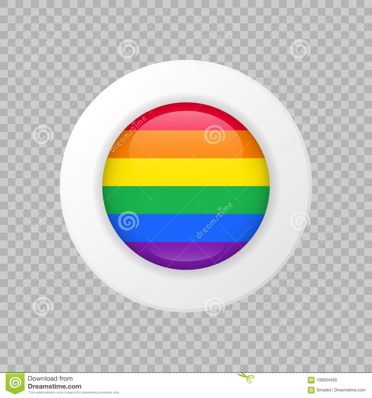 Vector LGBT flag sign on transparent background. rainbow circle symbol. Glossy icon