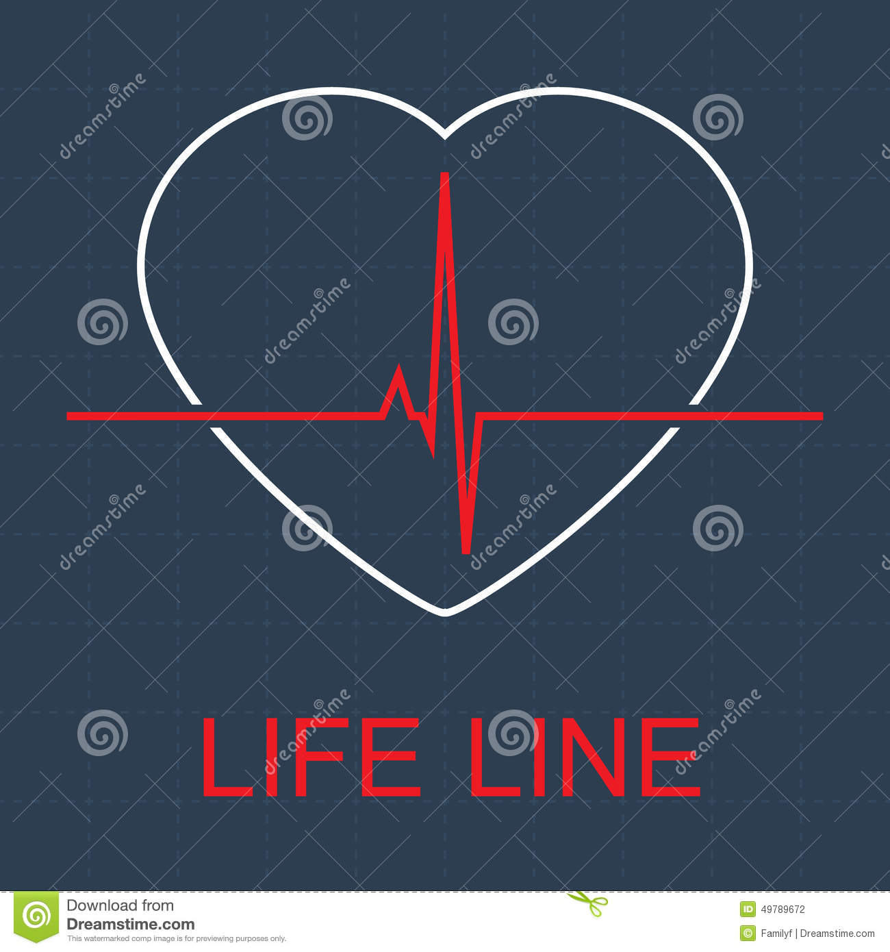Vector Life Line And Pulse In Heart Illustration 49789672 Megapixl