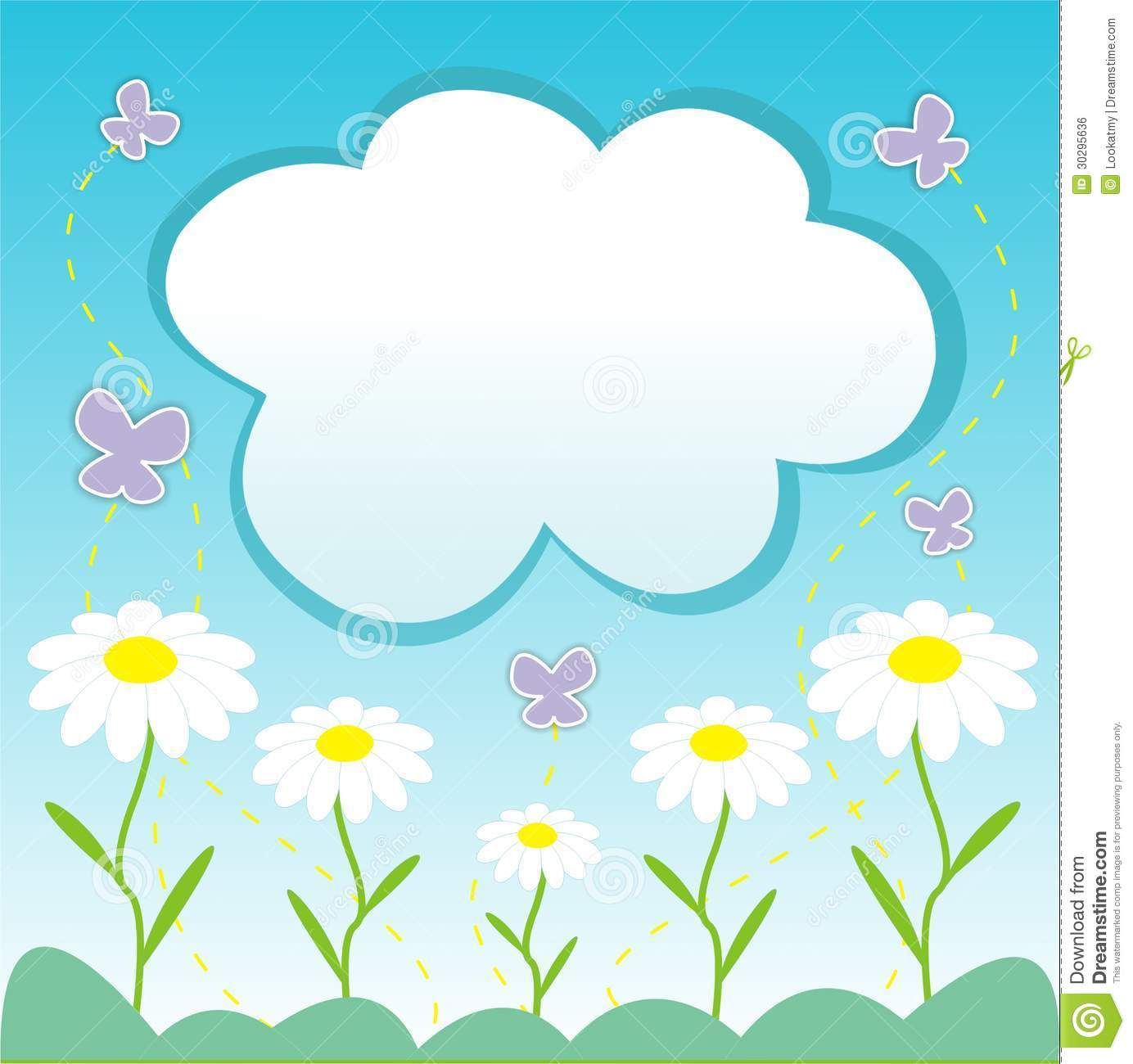 Vector light blue background with daises, cloud frame and butterflies.