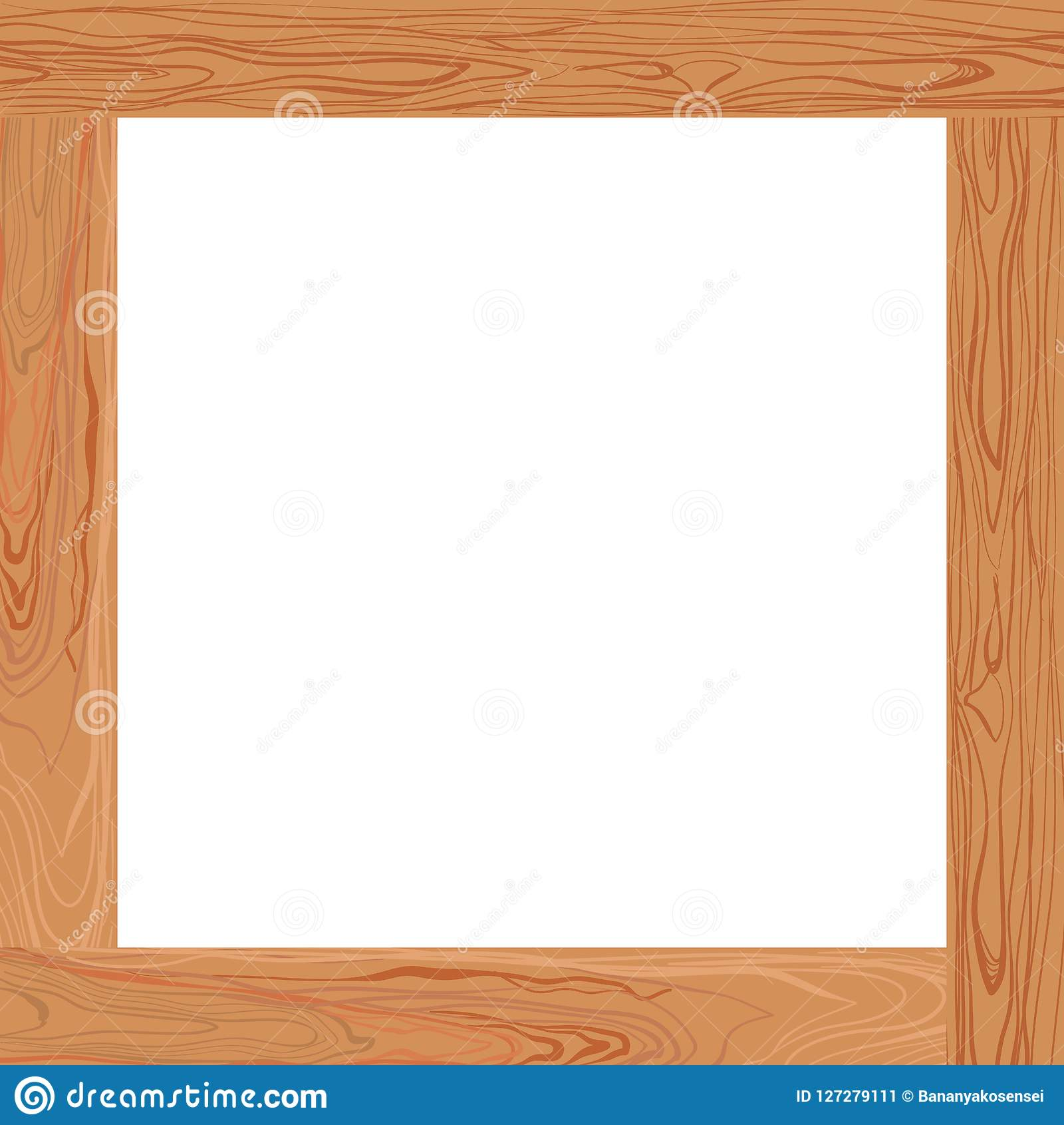 Vector Light Brown Wooden Frame Blank Border Stock Vector