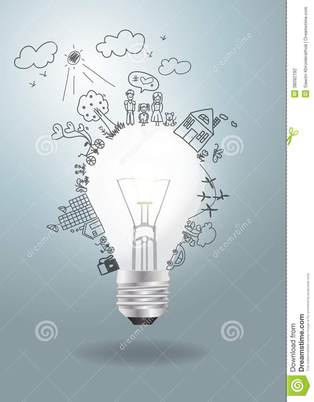 Vector Light Bulb Idea With Creative Drawing Ecolo