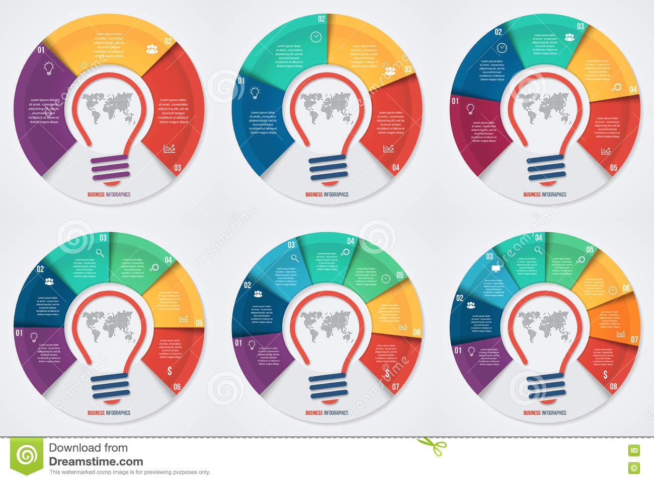 Vector Light Bulb Idea Pie Chart Infographic Template For Graphs