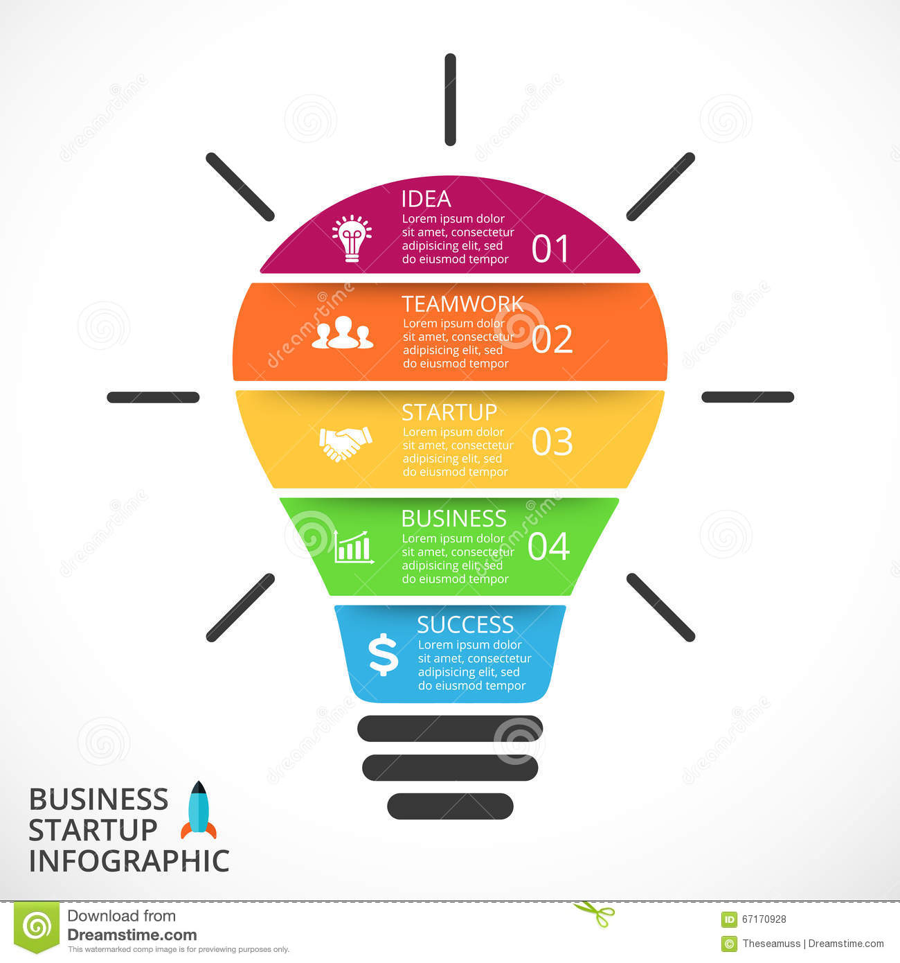 Vector Light Bulb Infographic. Template For Circle Diagram, Graph ...