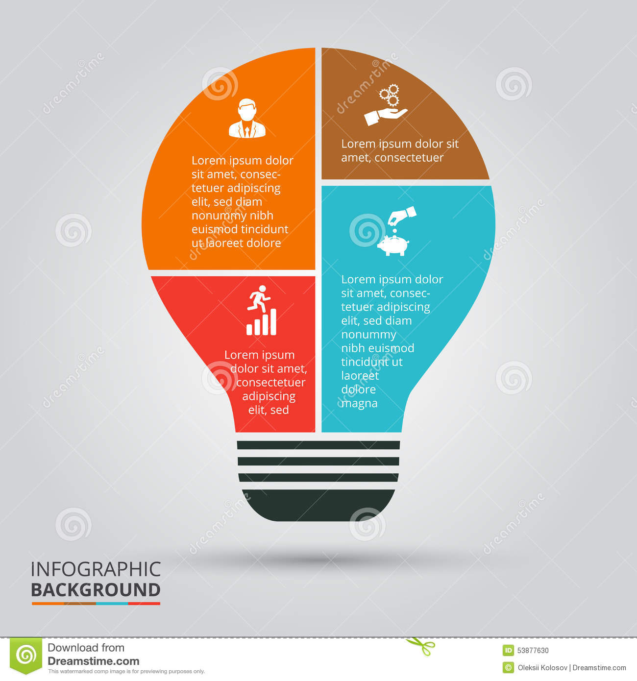 vector light bulb for infographic  stock vector