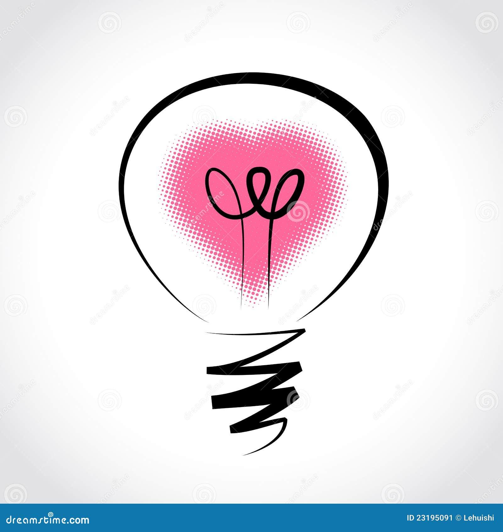 Vector Light Bulb, Symbol Of Heart Stock Image - Image: 23195091