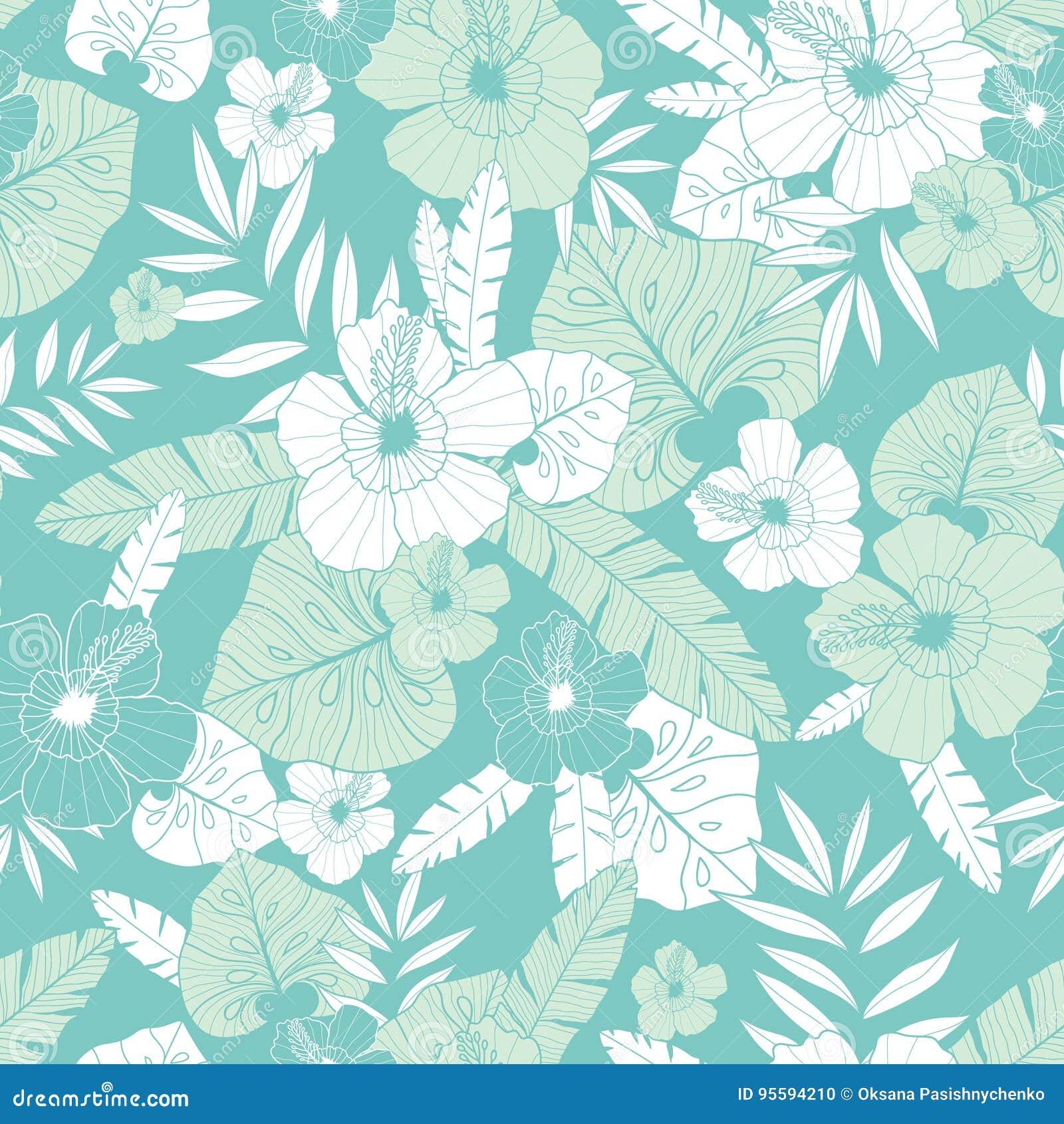 Vector Light Green And Blue Tropical Summer Hawaiian Seamless