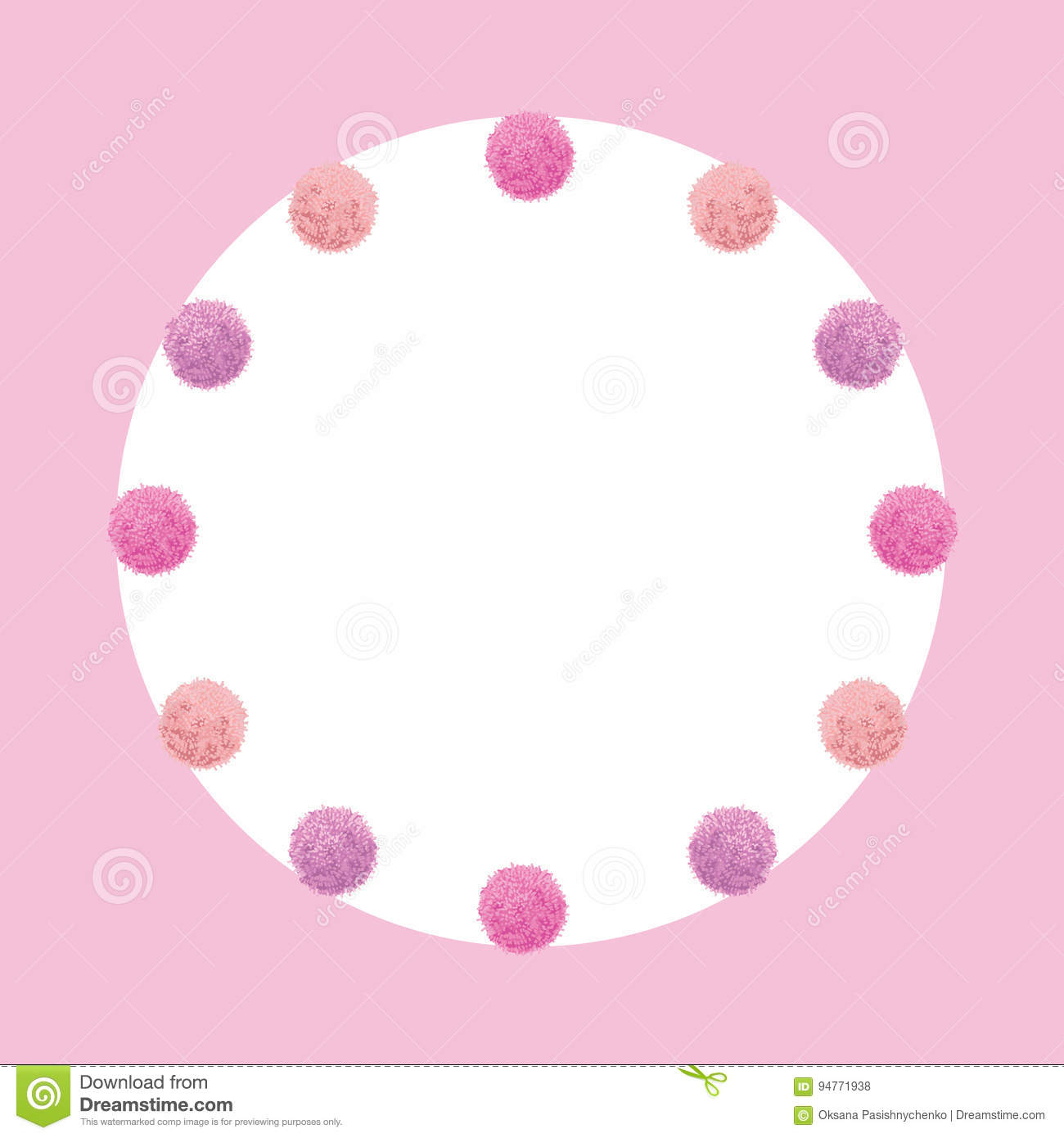Vector Light Pink Baby Girl Birthday Party Pom Poms Circle Set And ...