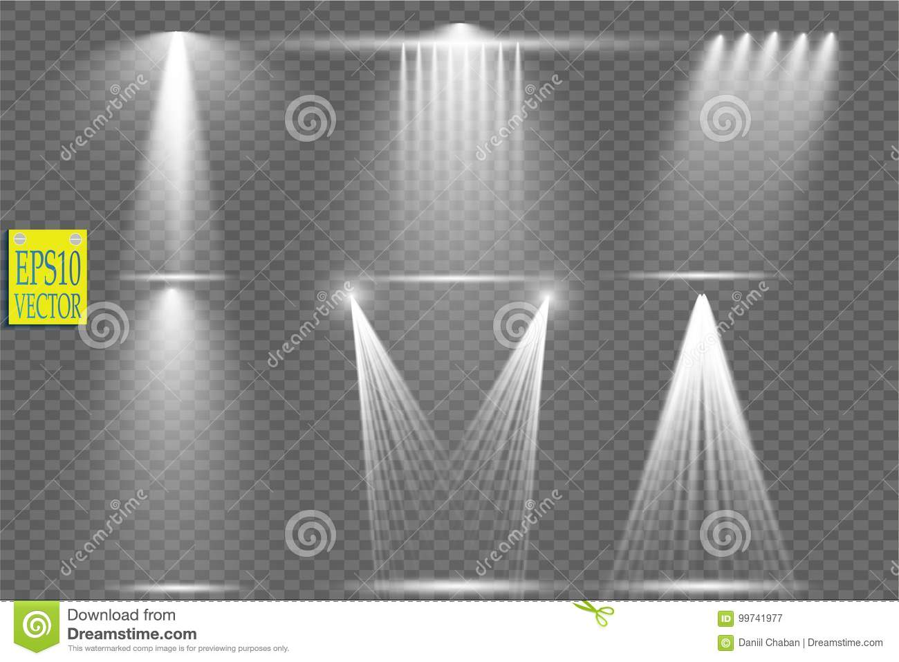 Download Vector Light Sources, Concert Lighting, Stage Spotlights Set. Concert Spotlight With Beam, Illuminated Spotlights For Stock Vector - Illustration of light, lamp: 99741977