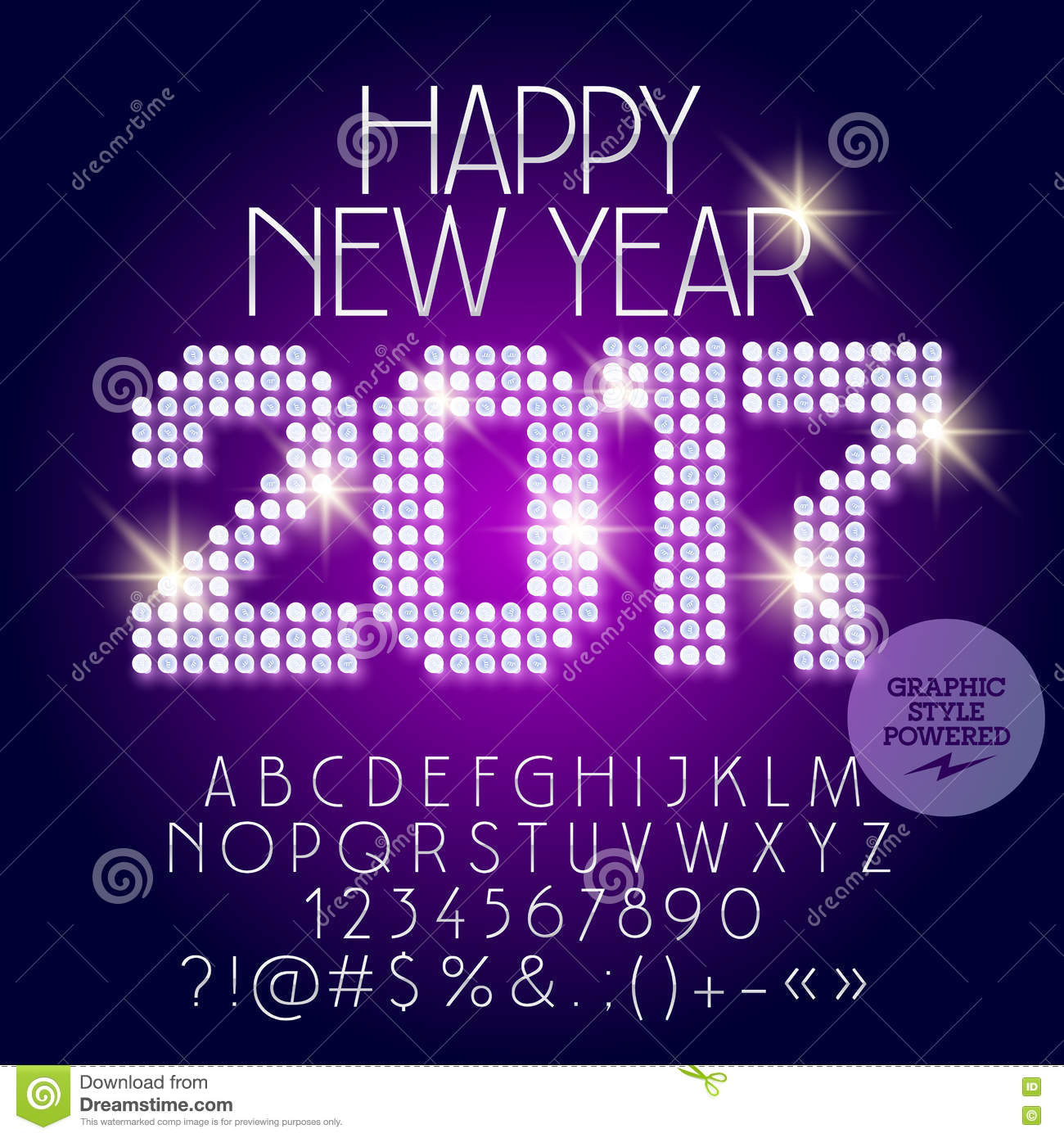 Vector Light Up Disco Happy New Year 2017 Greeting Card Stock Vector