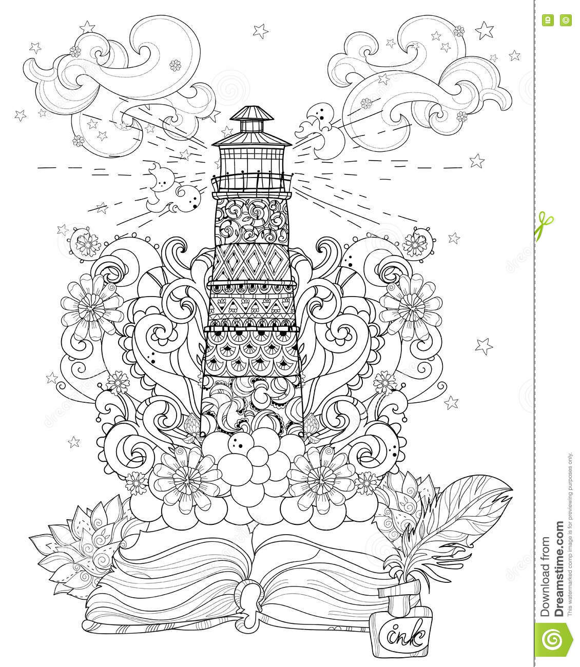 vector lighthouse from story magic coloring stock vector image