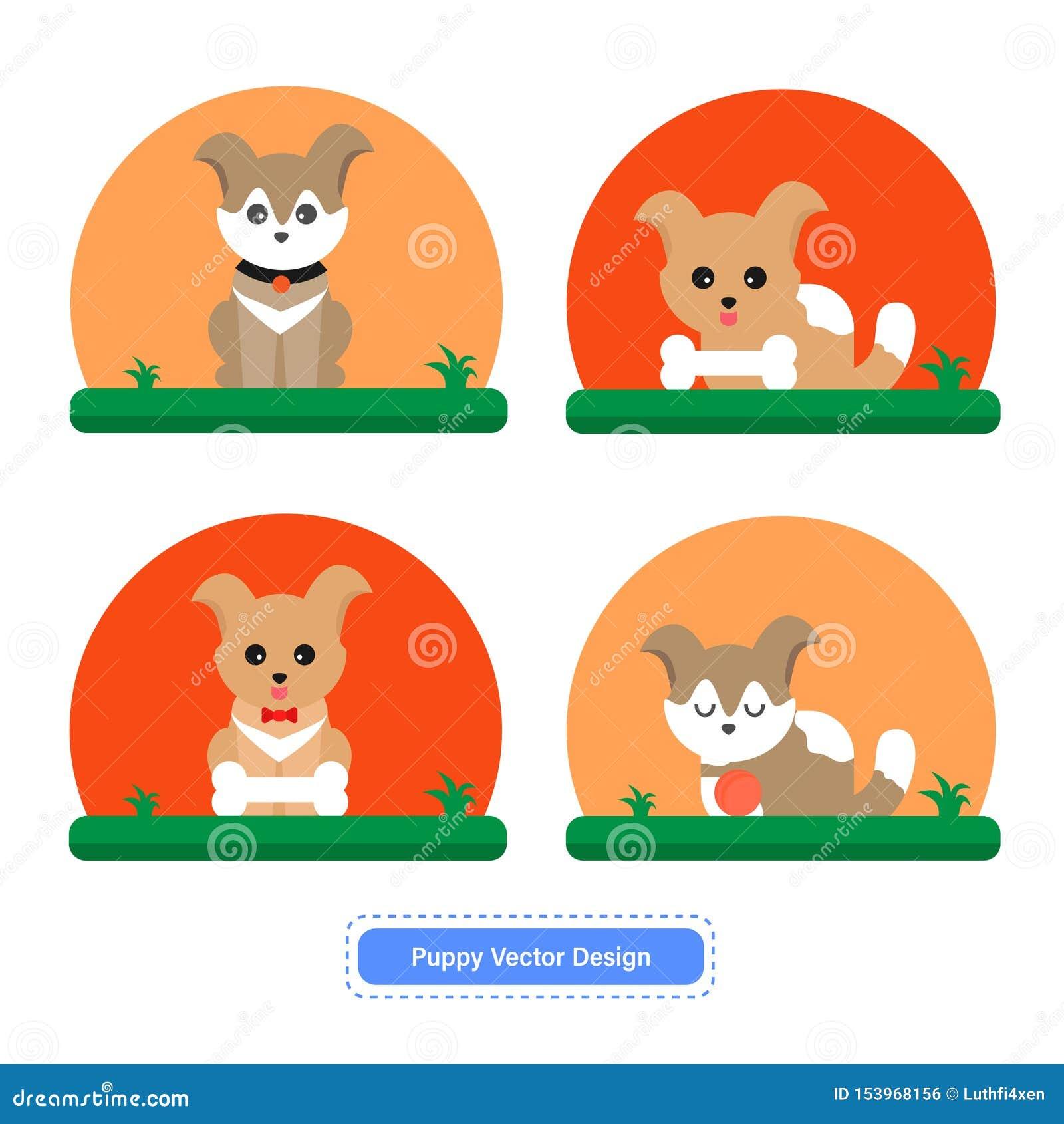 Vector lindo del perro o del perrito para las plantillas del icono o el fondo de la presentación