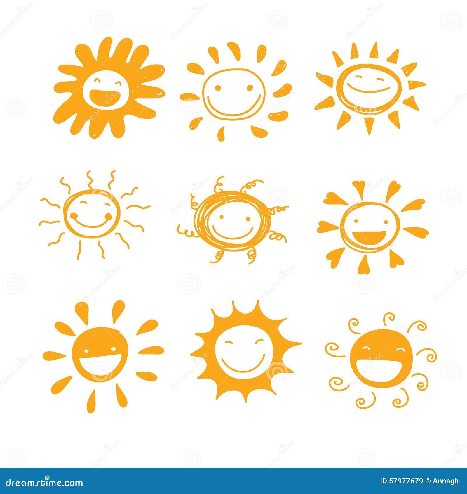 Vector lindo dibujado mano de la diversidad de la sonrisa de Sun para adornado o