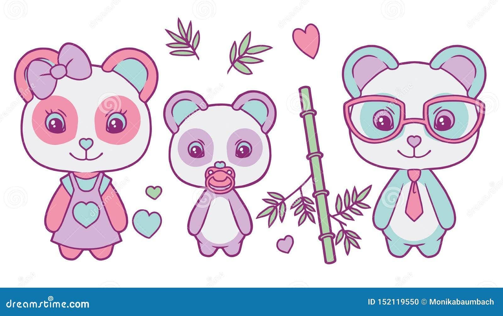 Vector lindo fijado con la familia coloreada en colores pastel del oso de panda gigante con la madre, padre y bebé, corazones y h