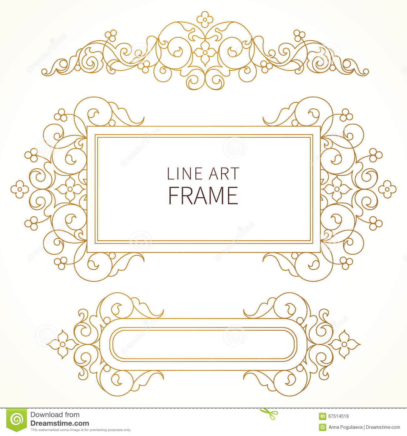 Vector line art frame for design template stock vector for Decor outline
