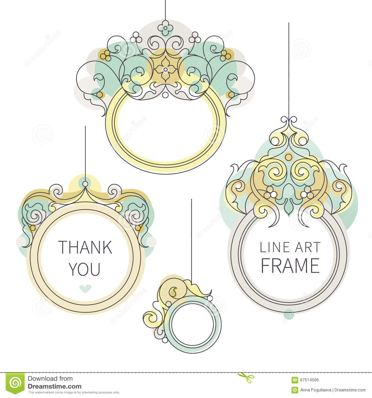 Frame Design Line Art : Vector line art frame for design template stock