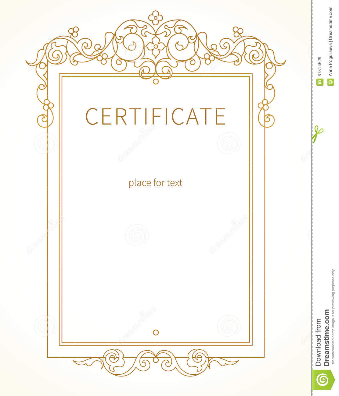 Vector Certificate Template In Eastern Style Cartoon