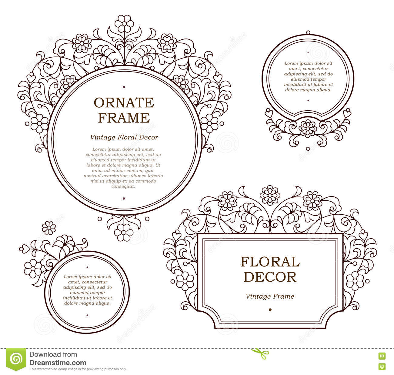 Vector line art frames for design template stock vector for Decor outline