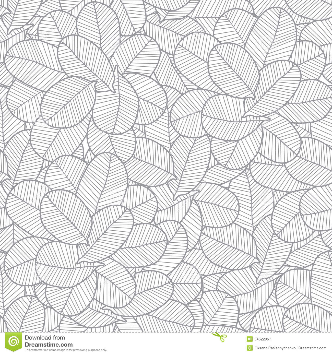 Line Art Vector Design : Vector line art grey leaves texture seamless stock