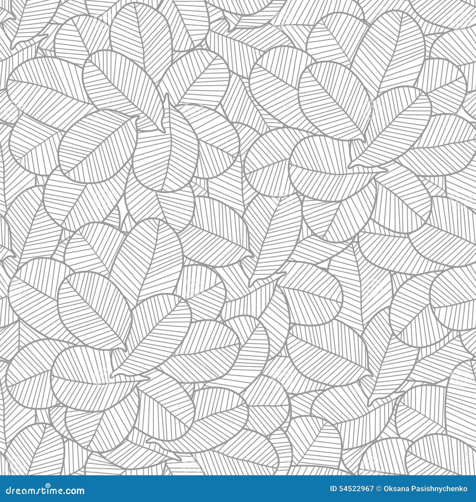Line Art Web Design : Vector line art grey leaves texture seamless stock
