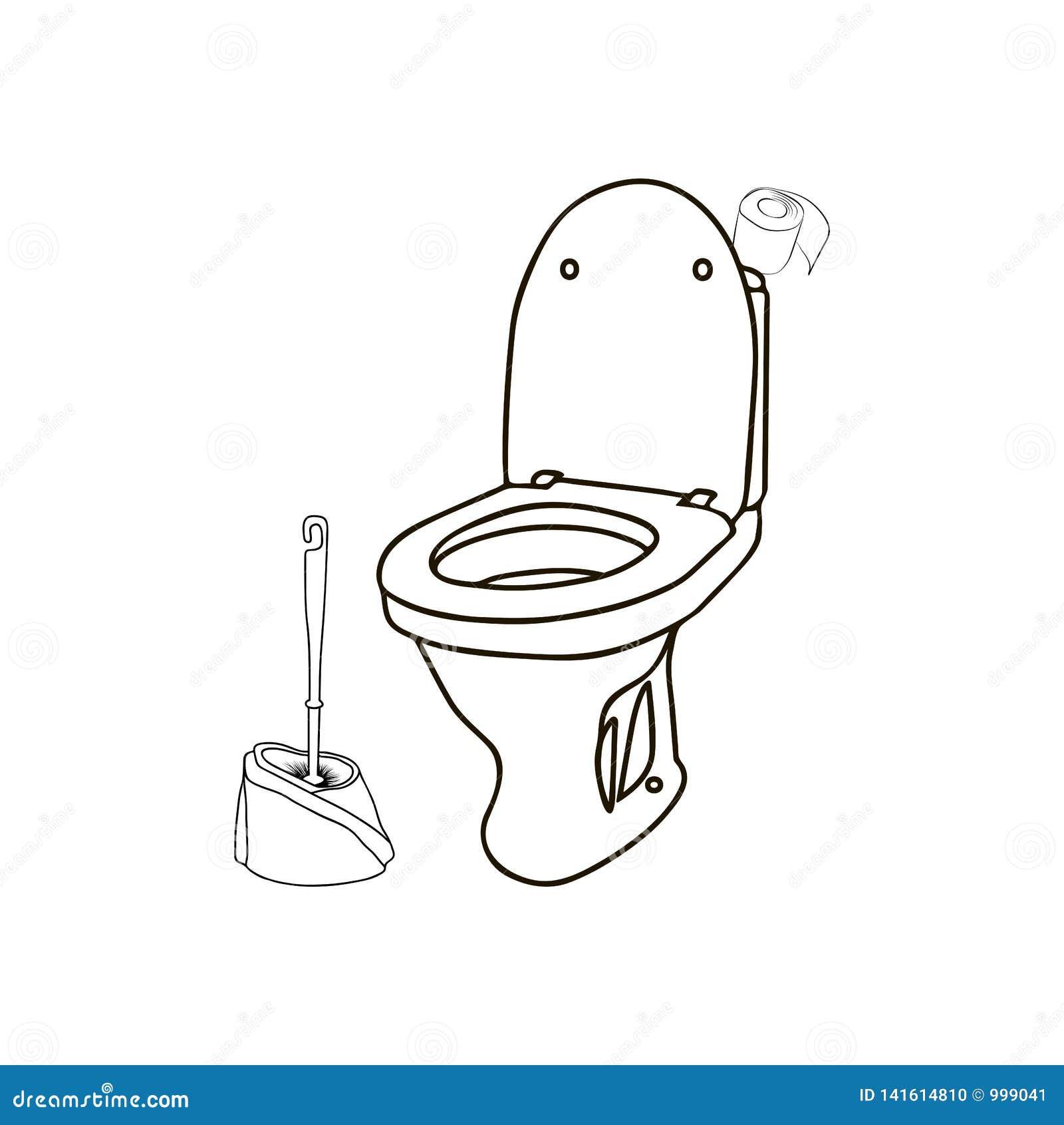 Vector Line Art Illustration Toilet Brush Toilet Toilet