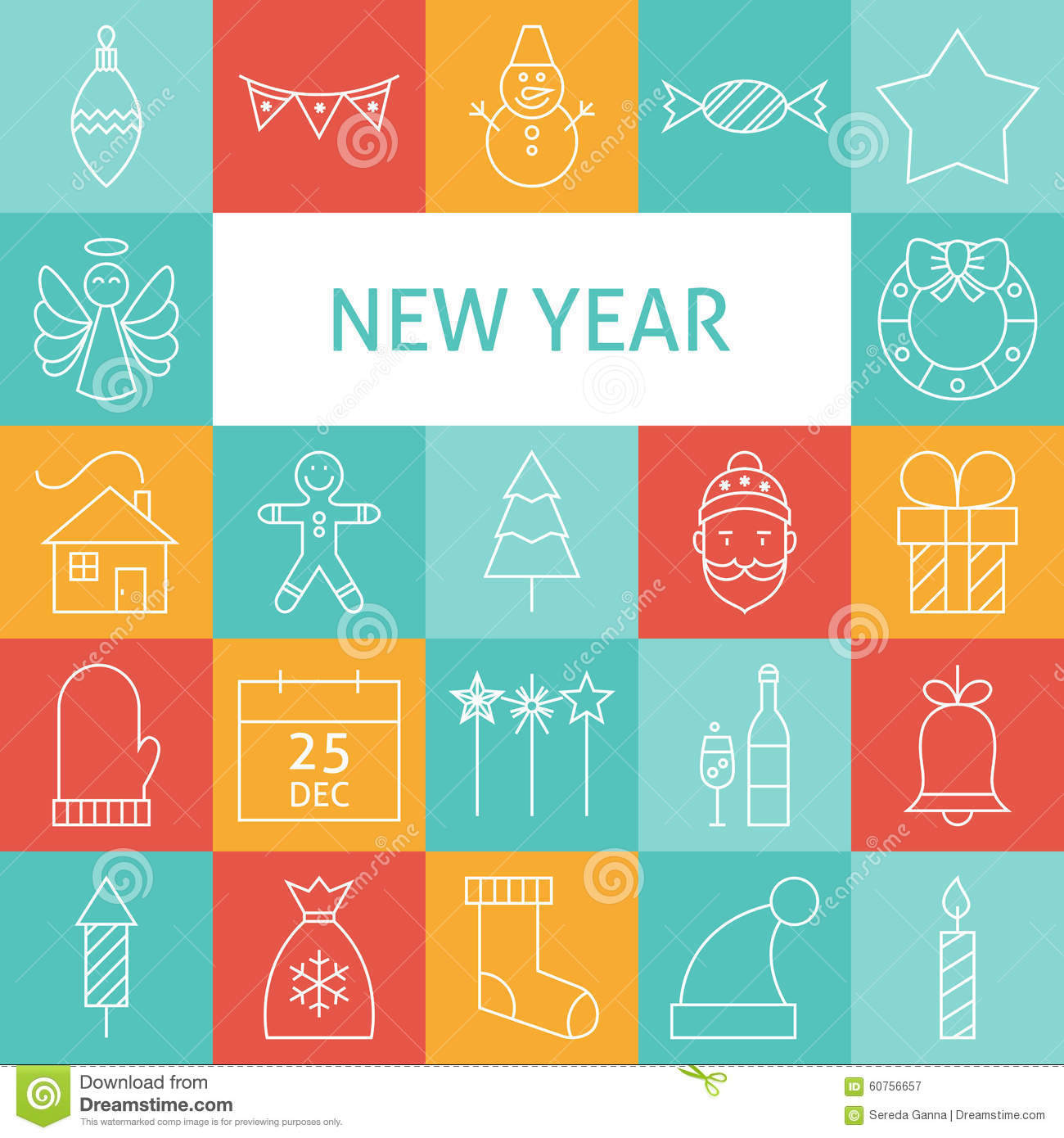 New Year S Line Art : Vector line art modern happy new year holiday icons set