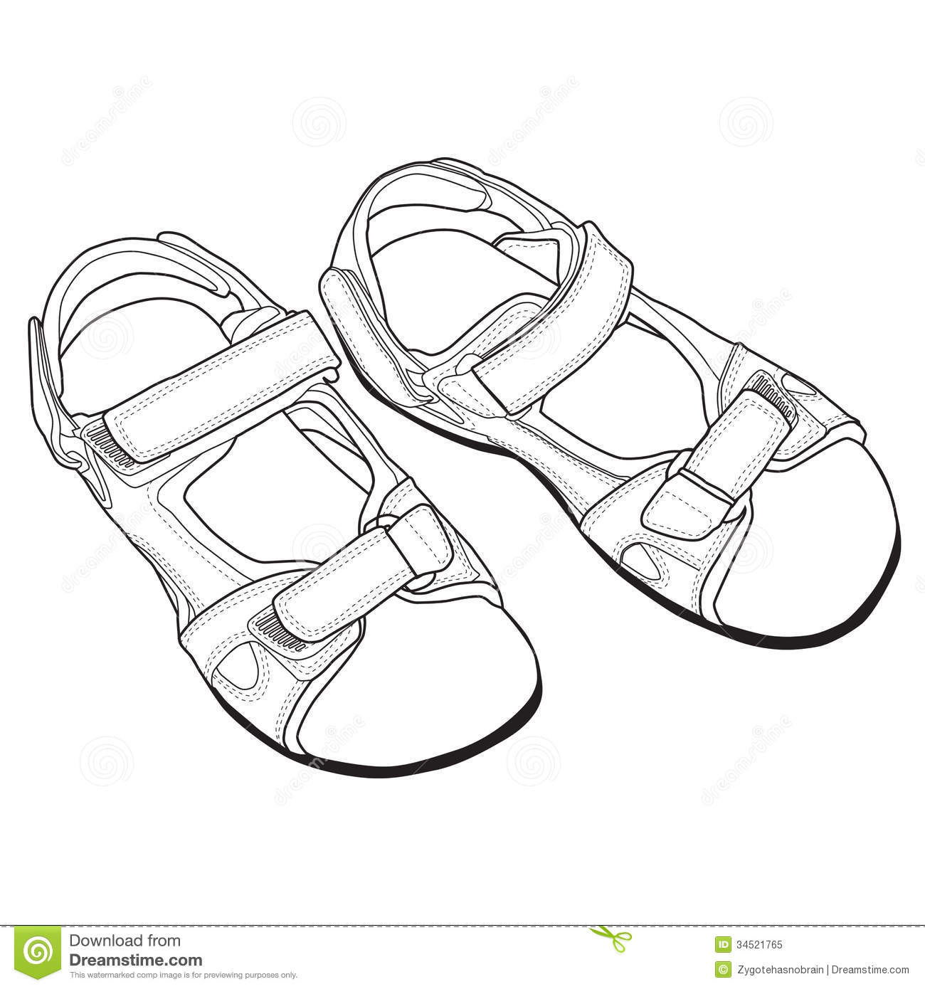 Vector Drawing Lines Worksheets : Vector line art of sandals stock image garment
