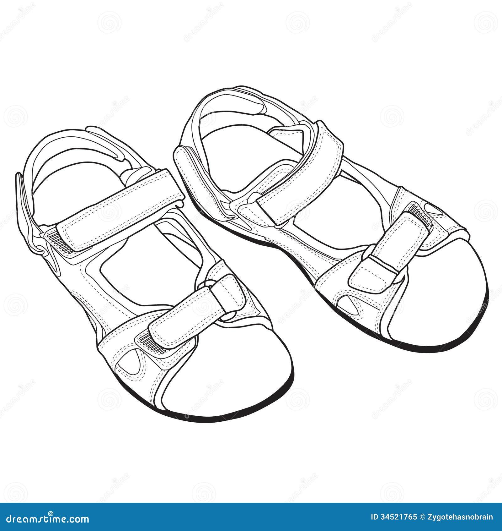 Line Art Vector Illustrator : Vector line art of sandals royalty free stock photo