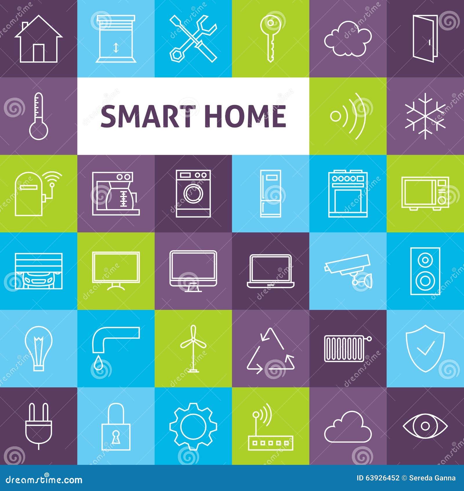 vector line art smart home icons set stock vector image 63926452. Black Bedroom Furniture Sets. Home Design Ideas