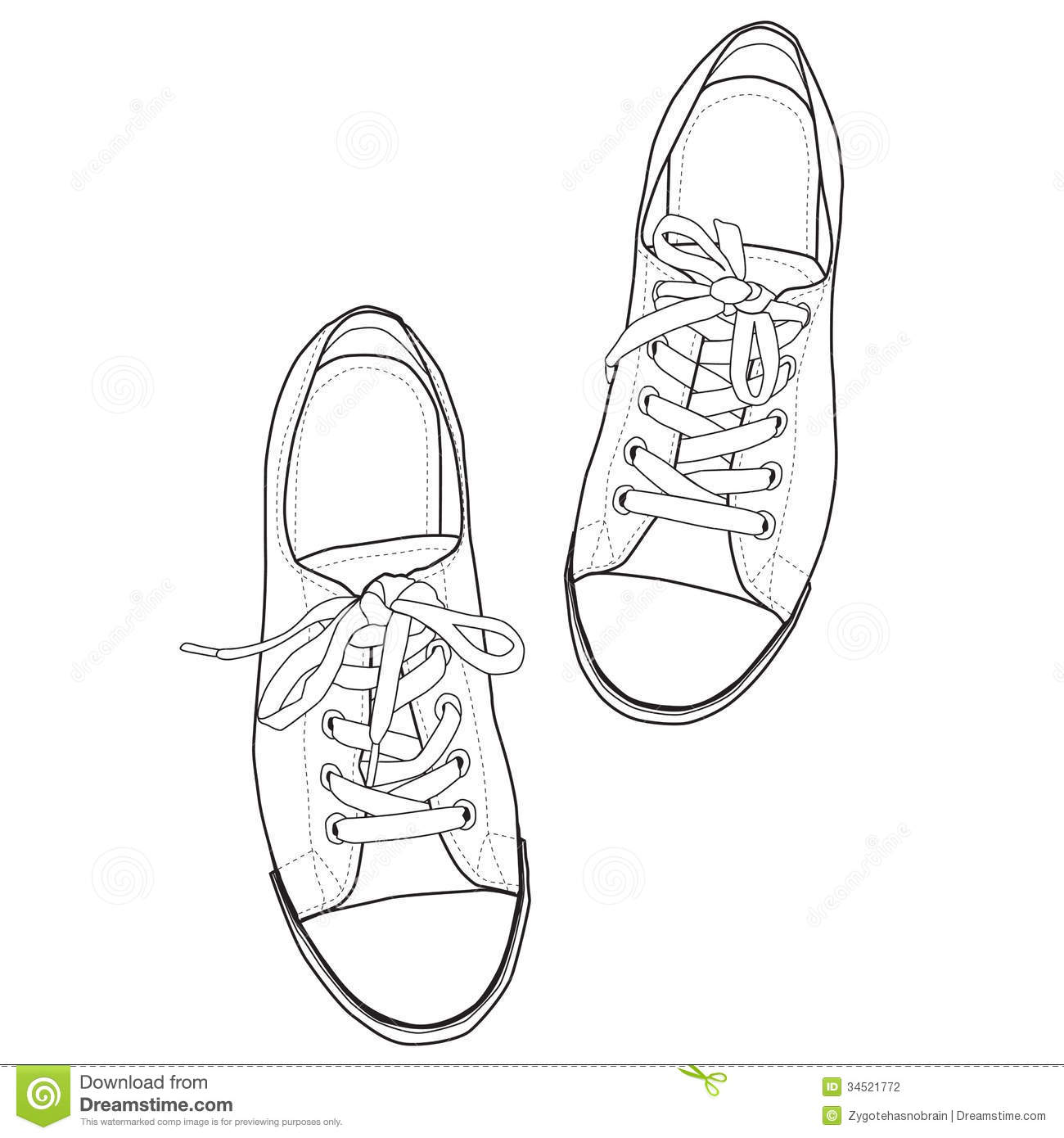 Line Art Vector Illustrator : Vector line art of sneakers stock photography image