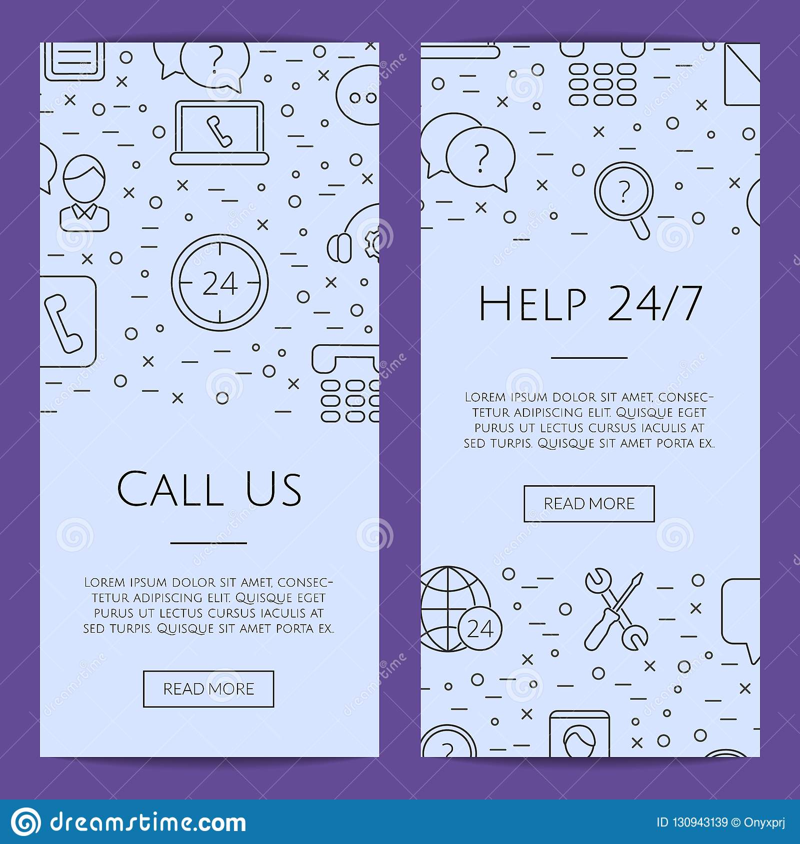 Vector line call support center icons web banner templates illustration