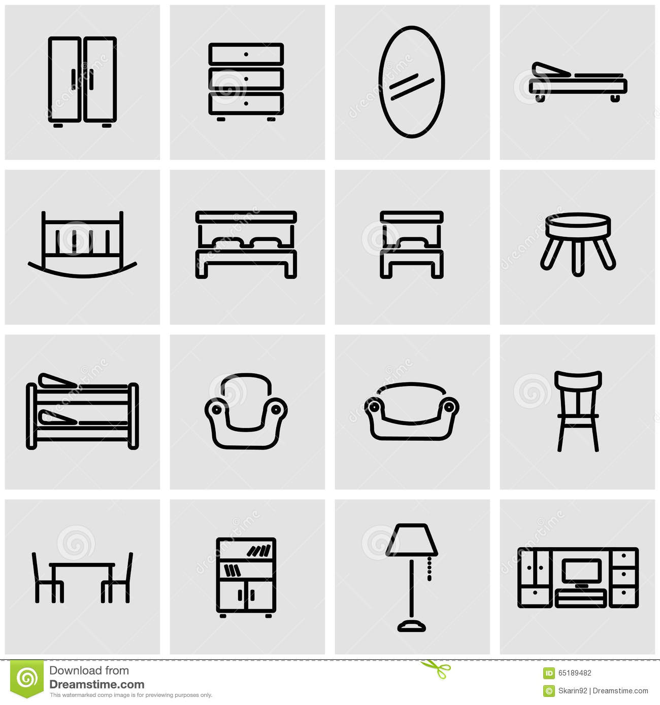 Vector line furniture icon set