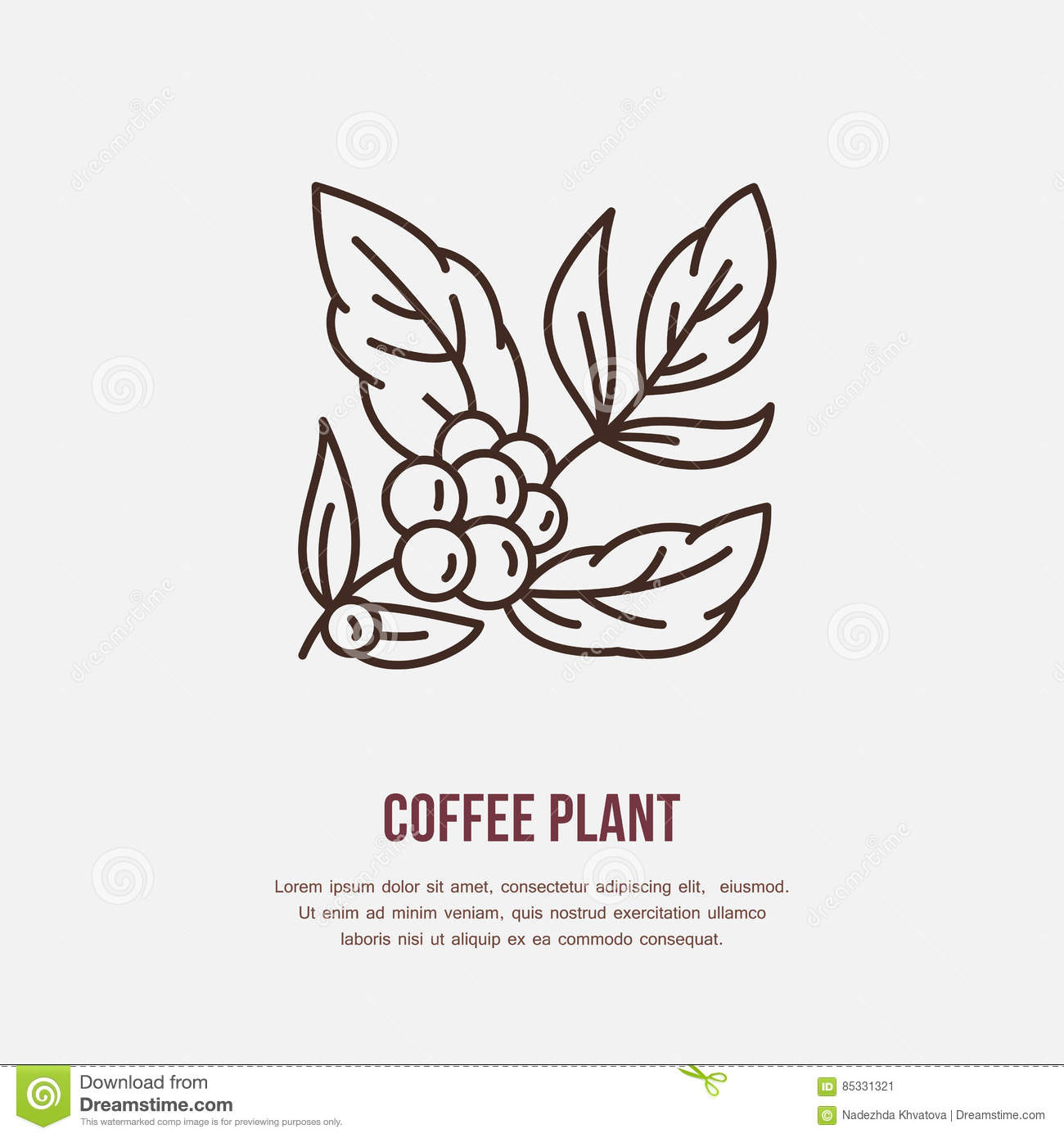 Vector Line Icon Of Coffee Tree Coffee Plant Linear Logo Outline