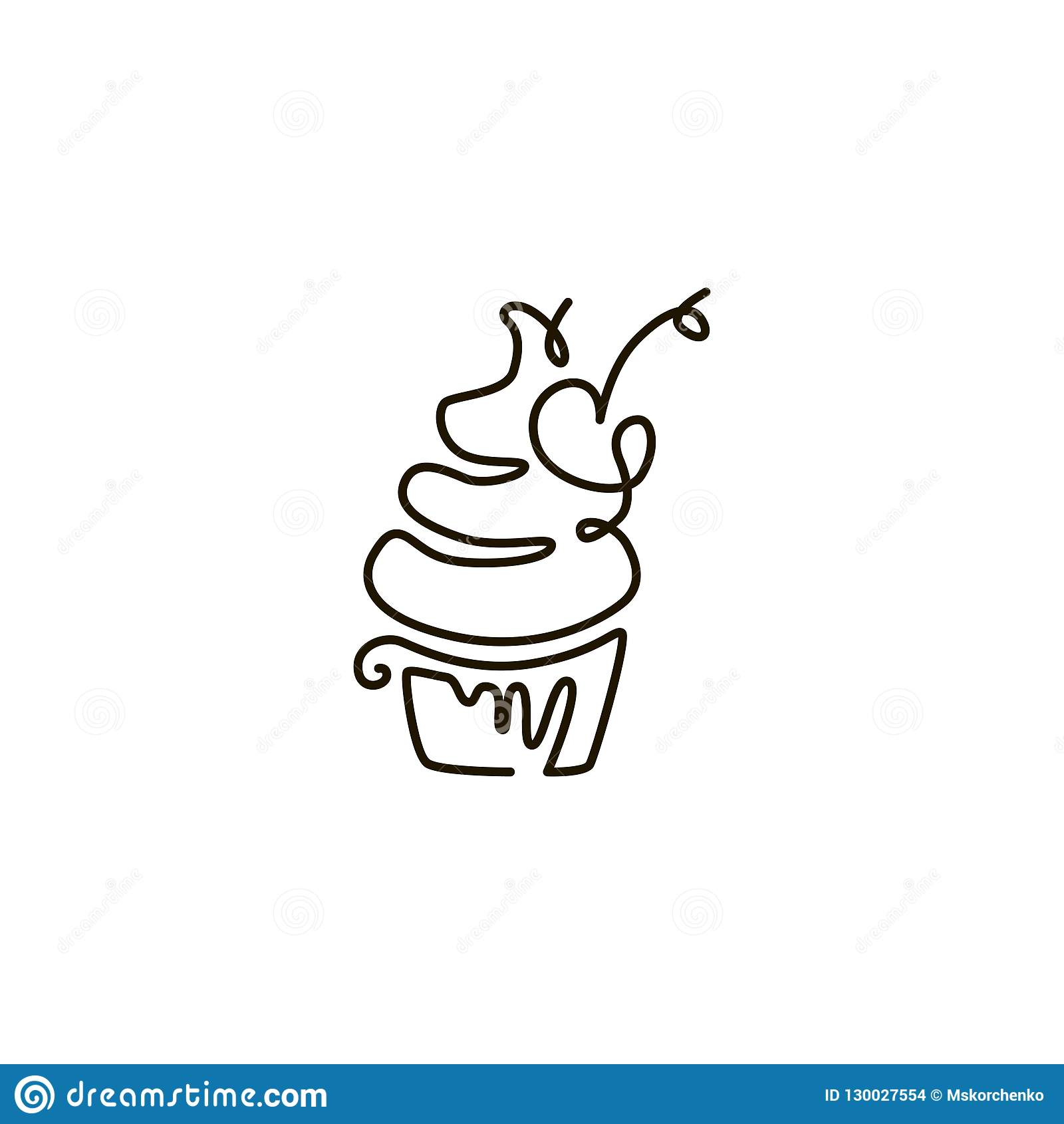 Vector Line Icon. Cupcake. One line drawing. Isolated on white background