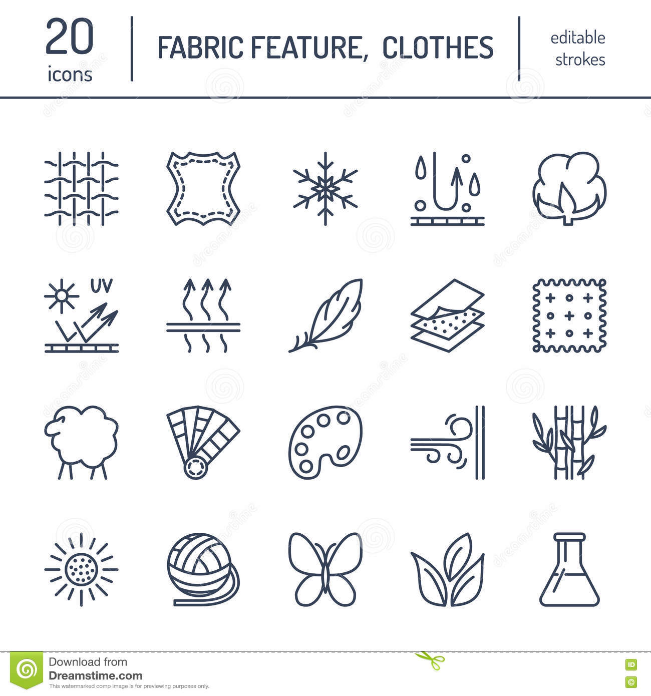 Wool stock illustrations 33516 wool stock illustrations vector line icons of fabric feature garments property symbols elements cotton wool biocorpaavc Gallery