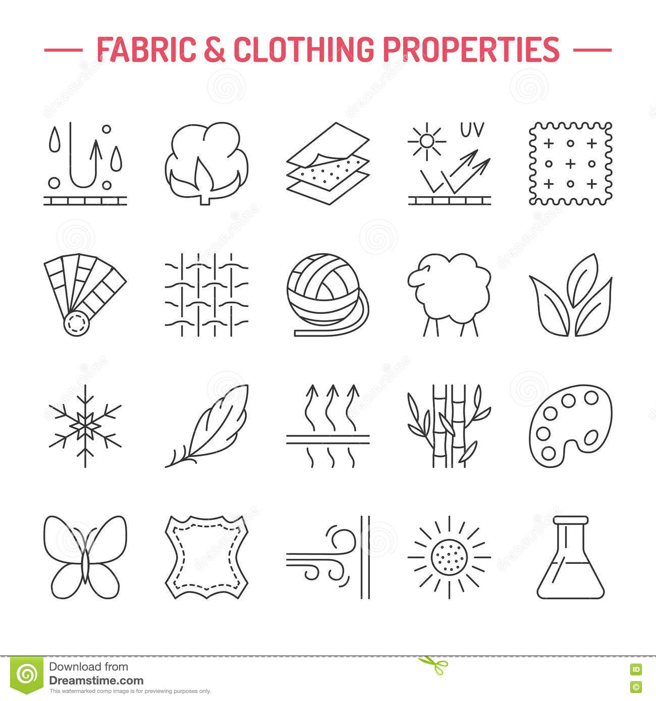Fabric Textile Properties Thin Line Vector Icons Cartoon