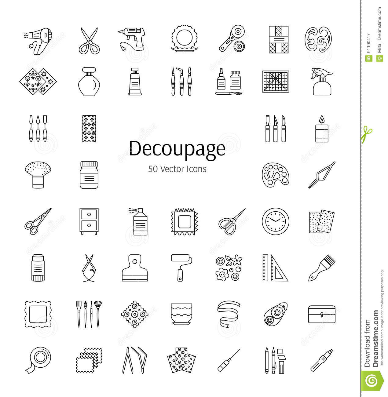 decorating furniture with paper. Decoupage Tools And Accessories. Vector Line Icons. Decorating Boxes,  Furniture Frames With Paper Napkins Glue. Paper Craft Elements. Handmade Hobby Decorating O