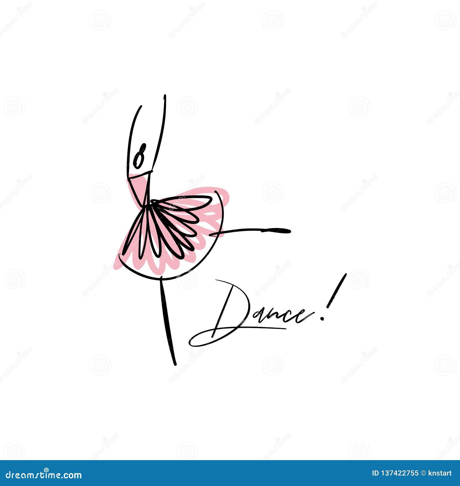 Vector line silhouette of elegant ballerina. Dancer icon