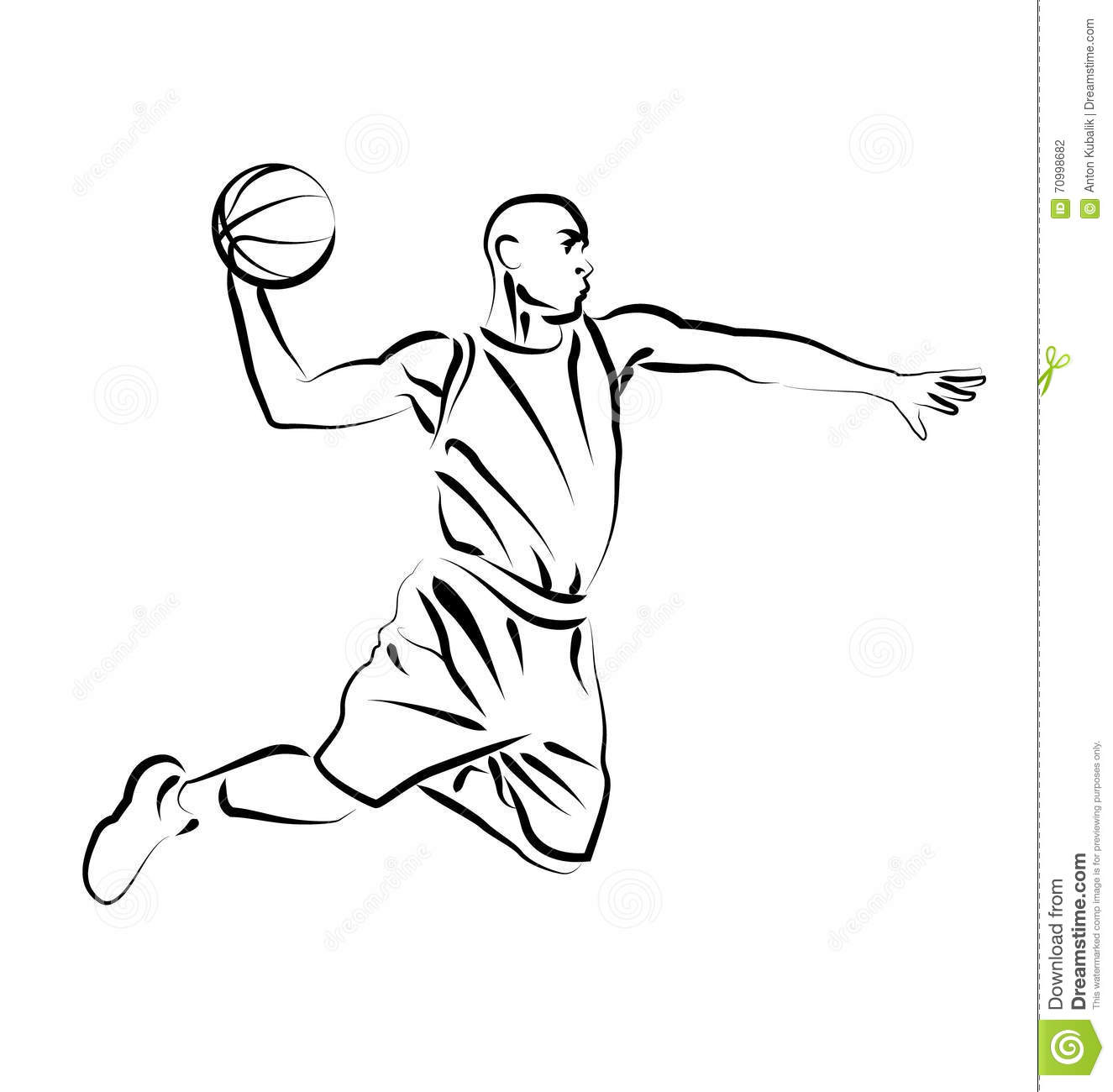 Vector Line Sketch Basketball Player Stock Vector - Illustration Of Game Abstract 70998682