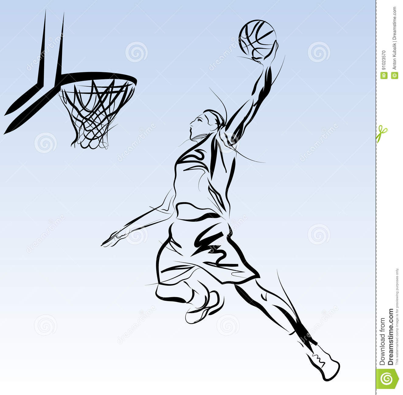 Vector Line Sketch Of A Basketball Player Stock Vector - Image 91023570