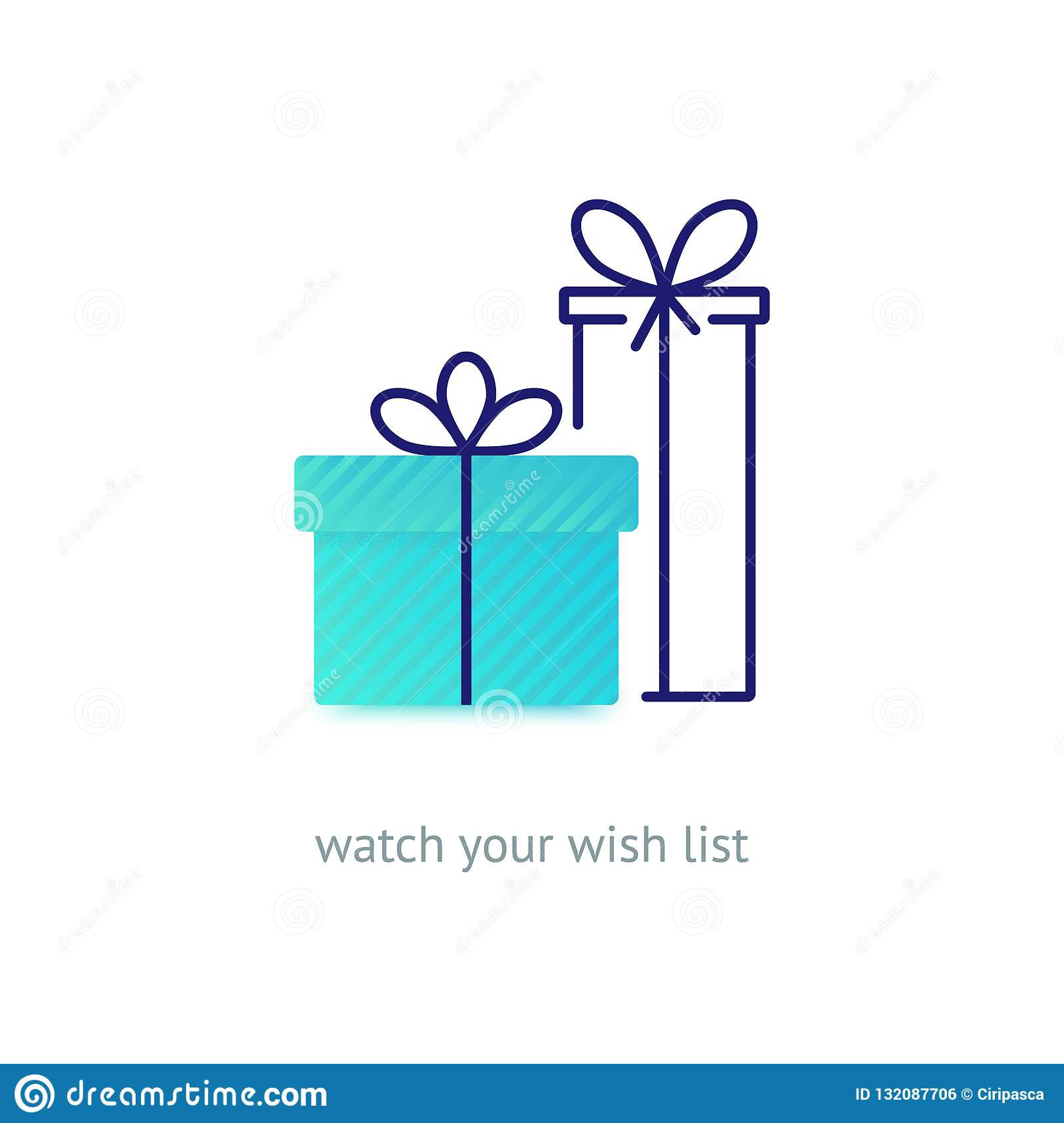 Vector Line Style Logo With Gift Boxes With A Bow Stock