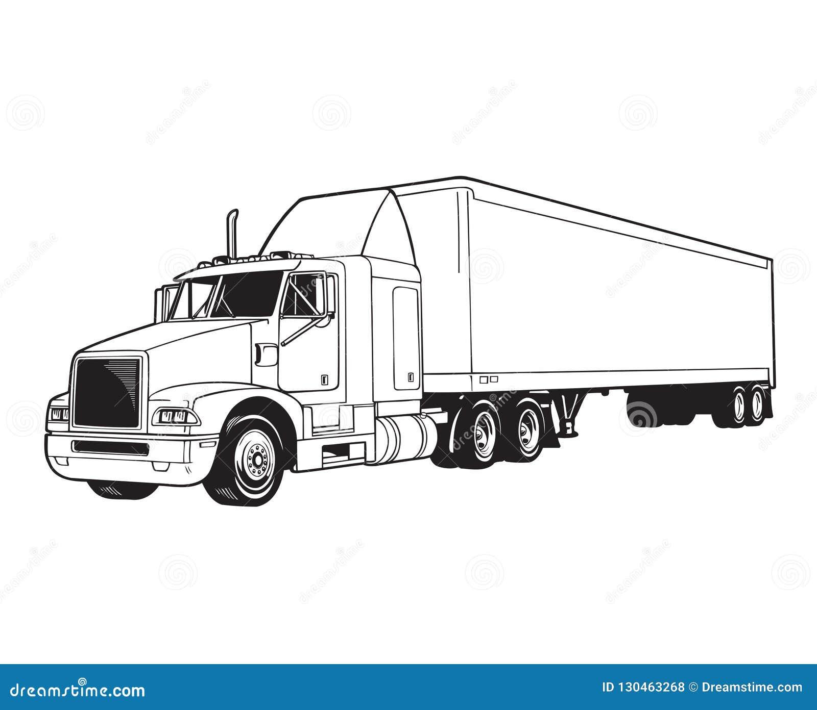 Vector line Trailor truck