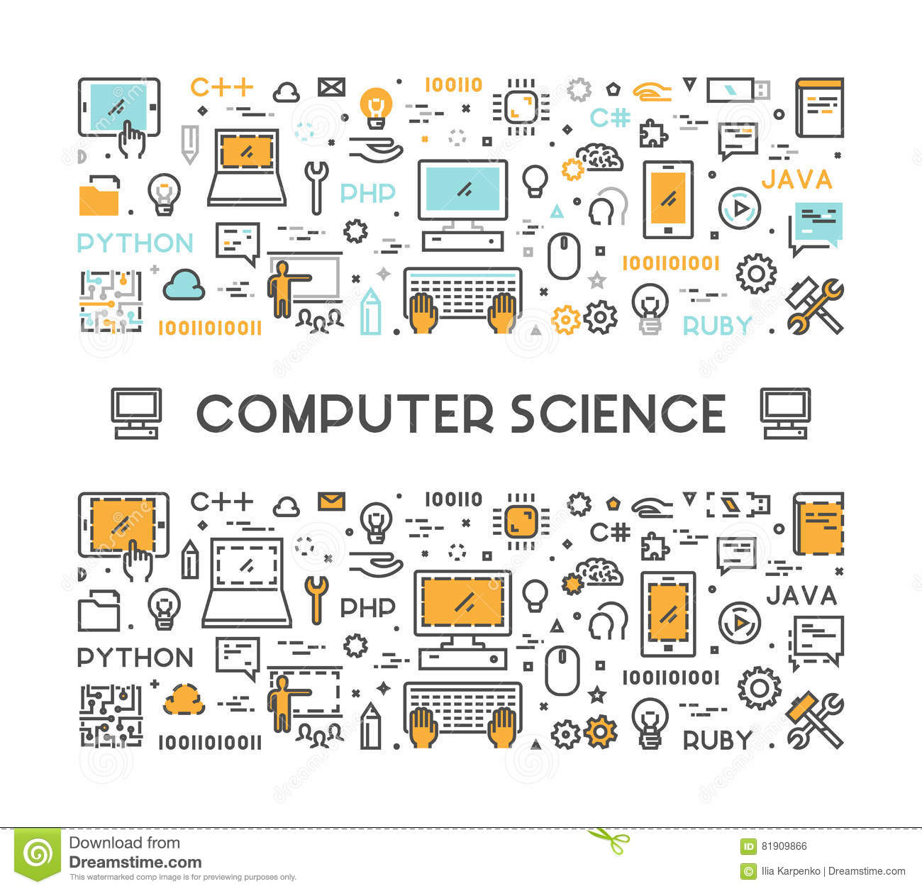 Vector Line Web Concept For Computer Science Stock Illustration Illustration Of Computer Background 81909866
