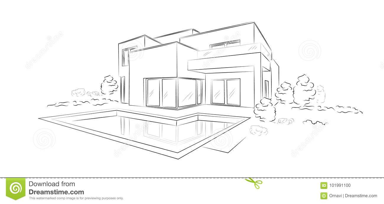 Vector Linear Architectural Sketch Modern Detached House Stock