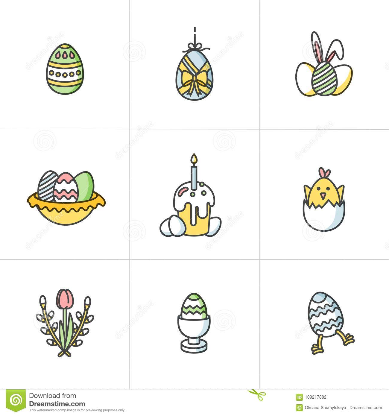 Vector linear colorful design easter greetings elements set of icon download vector linear colorful design easter greetings elements set of icon for happy easter cards m4hsunfo