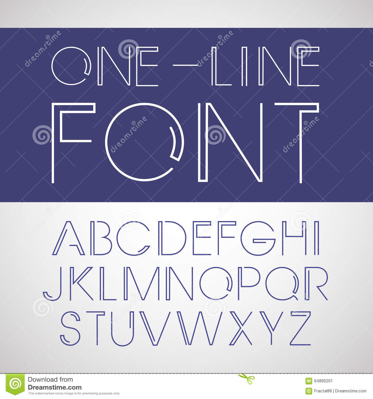 One Line Font Art : Vector linear font one line style stock