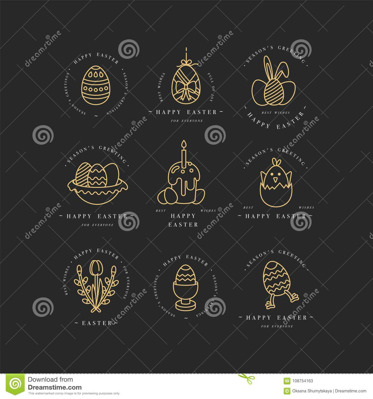 Vector linear golden design easter greetings elements set of vector linear golden design easter greetings elements set of typography ang icon for happy easter cards banners or posters and other printables m4hsunfo