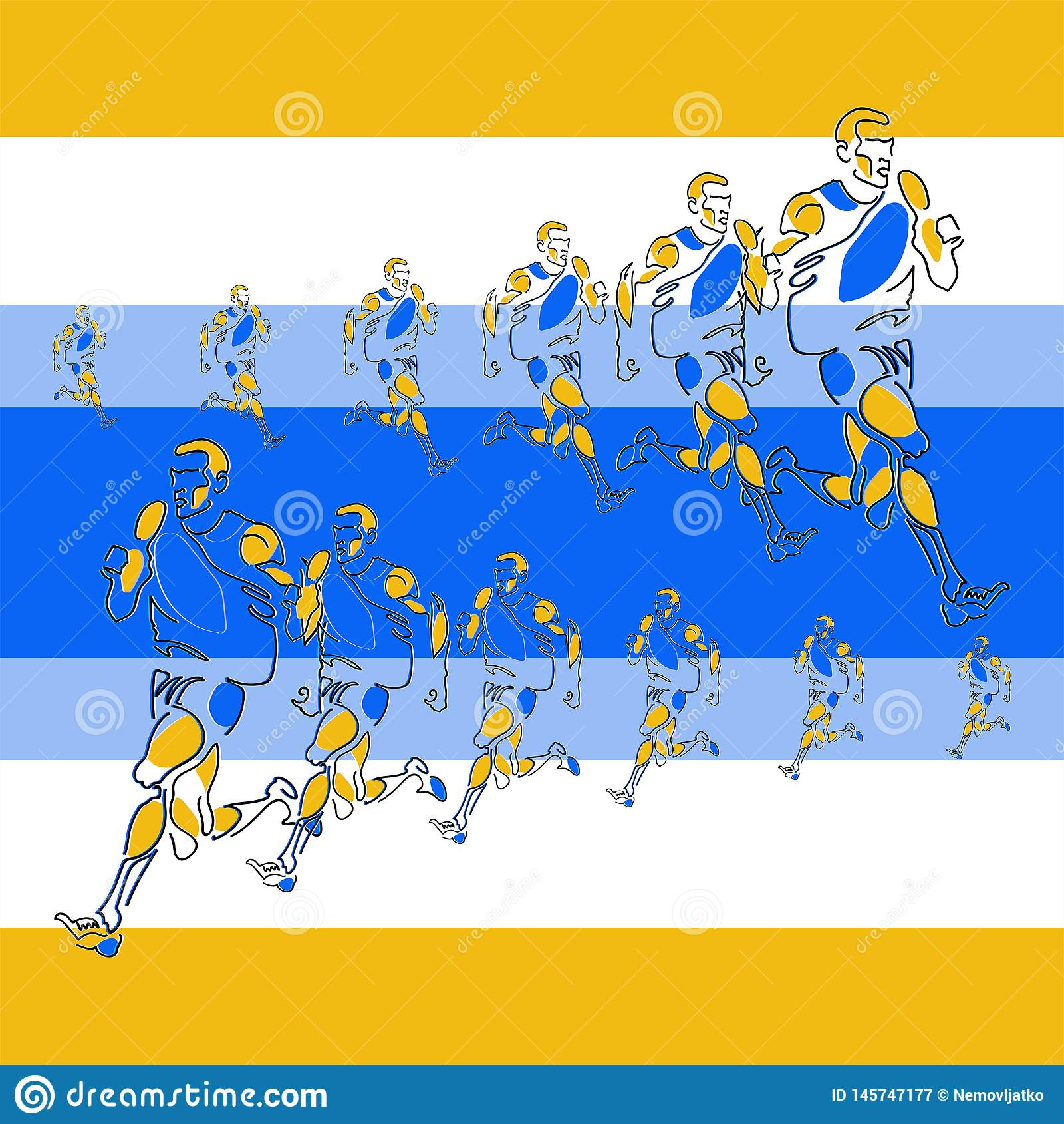 Vector linear pattern of stylized figures of athletes
