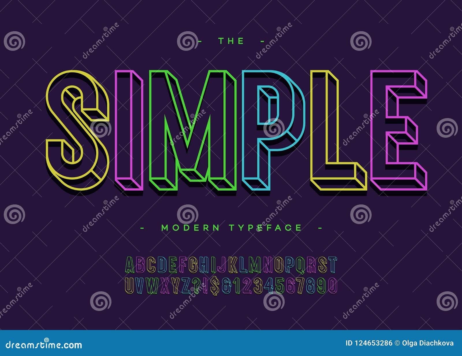 Vector a linha colorida estilo de Sans Serif da tipografia corajosa simples do alfabeto 3d