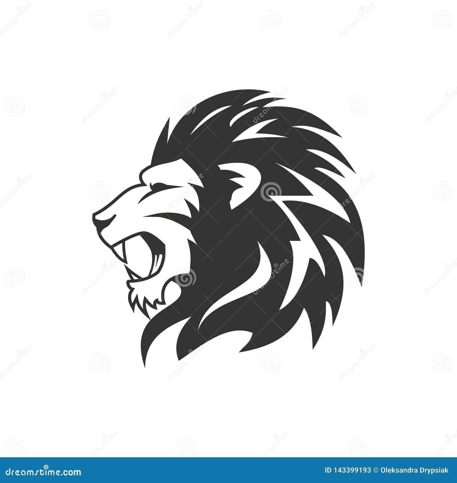Heraldic Lion Logo Design  Isolated On White Background